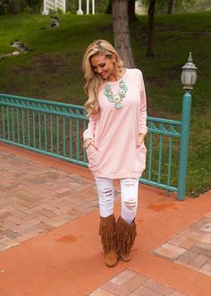 Online boutique. Best outfits. Raglan Sleeve Sweatshirt Pocket Tunic Dusty Pink - Modern Vintage Boutique