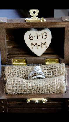 Small, Rustic, Ring Bearer Box With Burlap Cushion & Wood Burn Engraved Wedding…