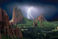 PixelGallery › Colorado  Lightning Strikes the Garden of the Gods - Colorado Springs, Colorado