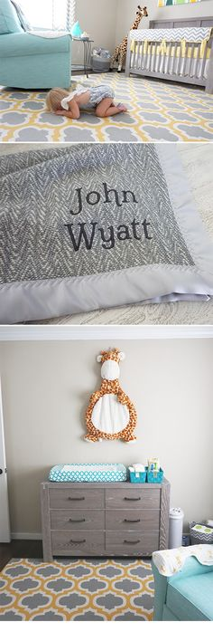 Swell Nursery Style featuring our Forever Blanket in The Wilder American Made Fabric. Comes with personalized message tag and monogramming available. The perfect heirloom baby blanket. Baby boy nursery with grey crib and dresser, yellow and grey rug, aqua accents and glider. Giraffe themed.