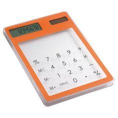 CALCOLATRICE mod. IT3791, 8 cifre, da scrivania touchscreen ad alimentazione solare. In ABS trasparente. Dim. 11,9 x 8,1 x 0,5 cm