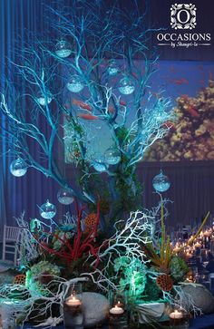 Sculptural Underwater Coral Centerpiece #obsevents #eventdecor #eventlighting…