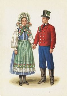 Traditional flower crowns from Poland. Region of Lubuskie. Postcard with illustration by Maria Orłowska-Gabryś (1925-1988).