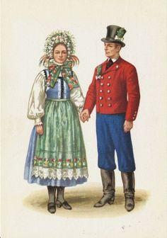 Traditional flower crowns from Poland. Region of Lubuskie. Postcard with illustration by Maria Orłowska-Gabryś (1925-1988).