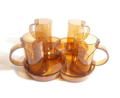 Dansk Amber Serving Tray & 4 Mugs Set Gunnar by RobinsRoostVintage