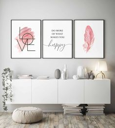 Blush Pink Wall Art Set of 3 Prints Bedroom Wall Art Girls Room Decor Do More of What Makes You Happy Inspirational Quote Love Sign Wall Art Pink Wall Art, Wall Art Sets, Love Wall Art, Art Mural Rose, Living Room Decor, Bedroom Decor, Bedroom Prints, Pink Walls, Diy Wall Decor