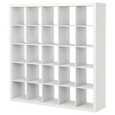 EXPEDIT Shelving unit - white - IKEA -- 2 of these on the long wall w colorful wallpaper behind it
