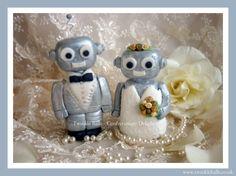 Mr & Mrs Robot cake topper