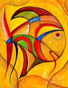 Abstract Painting - Fish Marucii by Marek Lutek Stone Painting, Painting & Drawing, Pop Art, Acrylic Artwork, Fish Art, Modern Art, Art Projects, Art Drawings, Abstract Art