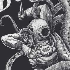 T-shirt design for the french band BUKOWSKI.Highly inspired by an illustration published in Le Petit Journal from Drawing Skills, Drawing Techniques, Amazing Drawings, Art Drawings, Sailor Illustration, Americana Tattoo, Deep Sea Diver, Octopus Art, Sea Art