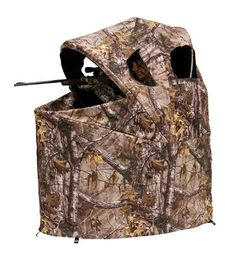 Ameristep Tent Chair Blind- Real Tree Xtra camo pattern - Front and side zipped windows - Carrying case with shoulder strap - Chair attached to blind, no assembly required