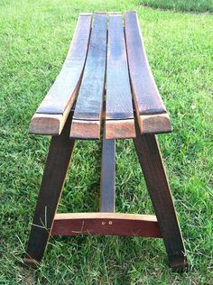 Outdoor Garden Bench made from wine barrel staves by BarrelArtLLC