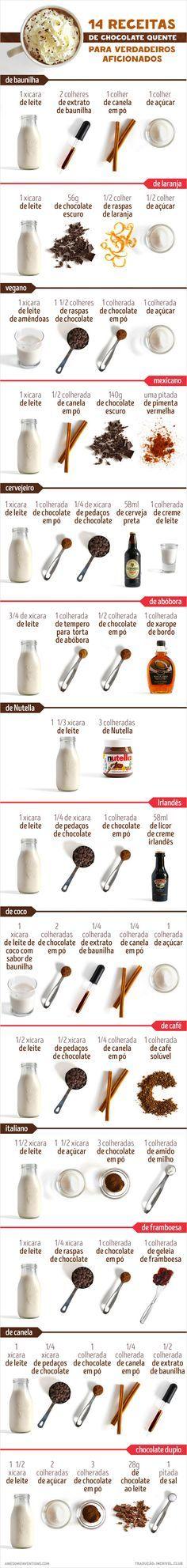 14 receitas de chocolate quente para um verdadeiro chocólatra