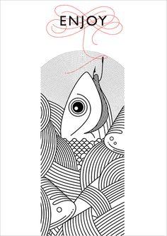 like simplicity of menu illustration. Food and object illustration Menu Illustration, Food Illustrations, Graphic Design Illustration, Fish Graphic, Graphic Art, Fish Logo, Fish Drawings, Fish Design, Fish Art