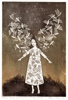 Marina Terauds ~ Dream III (Dream Within a Dream), 2009 (etching, aquatint) Art And Illustration, Angel Art, Whimsical Art, Printmaking, Illustrators, Art Drawings, Moose Art, Artsy, Fine Art
