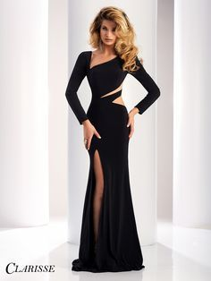 Clarisse Long Sleeve Cutout Detail Sexy black evening gown with slit and unique asymmetrical neckline Unique Prom Dresses, Elegant Dresses, Pretty Dresses, Sexy Dresses, Evening Dresses, Fashion Dresses, Formal Dresses, Black Evening Gowns, Black Gowns