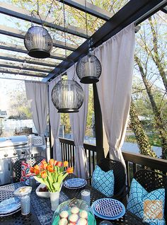 Deck Decorating Ideas: A Pergola, Lights and DIY Cement Planters. Back Patio, Backyard Patio, Cozy Patio, Backyard Privacy, Small Patio, Pergola Lighting, Outdoor Lighting, Lighting Ideas, Accent Lighting