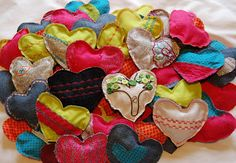Fabric hearts for Valentine's Day
