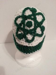 Big Bang Theory Show Atom Logo Inspired Beanie Hat Crochet Pattern - free geeky crochet pattern from cRAfterChick.com