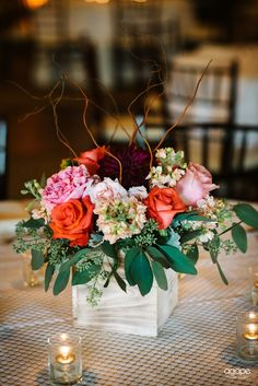 Pink, Red and Maroon Rose Short Centerpiece at Briscoe Manor ~ Photo by Agape House Studio