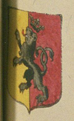 Albert DE DURAND, sieur de Sartoux. Porte : d'or ; party : de pourpre, à un lion de sable, couronné de même, ayant la queue passée au sautoir, brochante sur le tout | N° 27