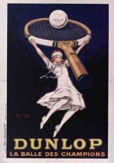 Art Deco tennis ball ad by Dunlop