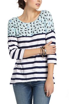 {sewing inspiration} Split Stripes Pullover | Anthropologie.