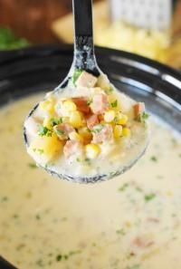 Slow Cooker Ham & Corn Chowder from myrecipemagic.com