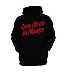02757ee6 Black Real Hasta La Muerte Hoodie White Hoodie, Classic Style, Pocket,  Pullover,