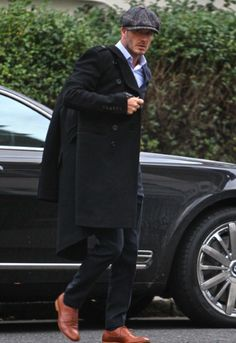 David Beckham - great coat, cap and shoes