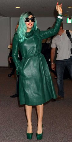 Lady GaGa in green leather coat by Valentino....