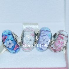 925 Sterling Silver Thread Core Flower  Murano Glass Bead Sets Fit European Charm Jewelry Bracelets Necklaces & Pendants