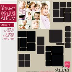 From the Ultimate Albums comes these splendid masks! 8 masks that will help you show off those photos!(Rounded Corners)