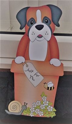 3D On the Shelf Card Kit - Flower Pot Friends Little Boxer Dog Bruiser - Photo by Anne Jackson