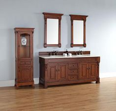 James Martin Brookfield (double) 72-Inch Warm Cherry Transitional Bathroom Vanity With Top Options
