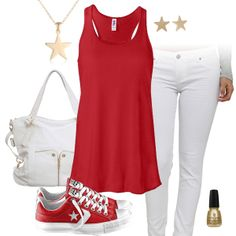 Red Tank Top & White Jeans Outfit with Converse All Stars