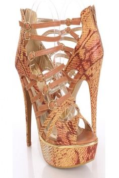 Tan Faux Leather Snake Strappy Buckle Platform Heels