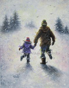 Snow Play Dad Daughter Original Oil Painting by VickieWadeFineArt