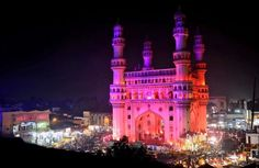 """It is widely accepted that charminar was built at the center of the city of Hyderabad, to commemorate the eradication of plague"""", a deadly disease which was wide spread at that time ; as Muhammad Quli Qutb Shah had prayed for the end of a plague that was ravaging his city and vowed to build a Mosque at the very place where he prayed."""