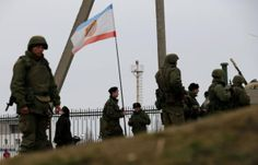 PHOTO: Russian troops in Feodosiya, Crimea 2 March 2014 3 (with Crimean flag). #Crimea #Russia #Ukraine
