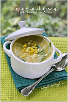 Dr. Fuhrman's Creamy Zucchini Soup//Add onion, garlic, zucchini, basil, thyme, oregano and vegetable broth to a large soup pot.Return soup to the pot, add corn and baby spinach, and stir. Spinach will wilt from the heat of the soup. Season with black pepper.