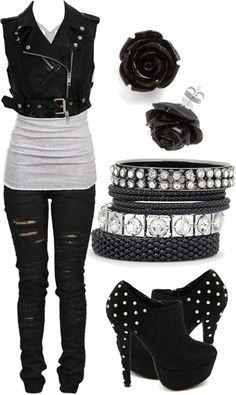 Edgy rocker girl on wish totally in love with this outfit Indie Outfits, Fashion Outfits, Womens Fashion, Biker Outfits, Fashion Ideas, Fashionable Outfits, Punk Rock Outfits, Fashion Clothes, Cute Goth Outfits