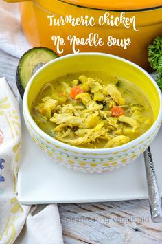 Turmeric Chicken No Noodle Soup {AIP, Paleo, Gluten-Free, Grain-Free, Nightshade-Free, Dairy-Free, Soy-Free, Nut-Free, Egg-Free, Whole 30}