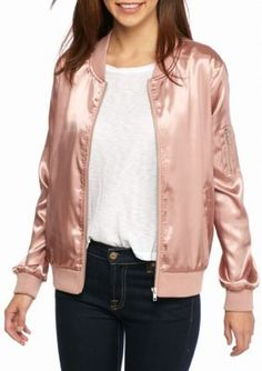 New Directions Dusty Pink Solid Bomber Jacket