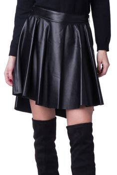 7d968390e LUXURY FASHION Skater Skirt Size M Plain Black PU Leather Pleated Dipped  Hem #fashion #
