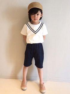 セーラーデザインのTシャツが可愛いすぎる😍 もちろんはやとくんみたいにちっちゃい子着た方が断然可愛