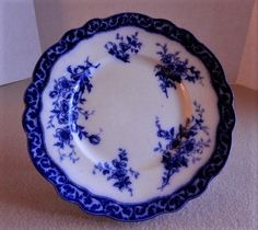 Henry Alcock u0026 Co  Touraine  Pattern Flow Blue Luncheon Plate & 16