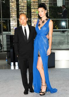 Jessica Stam in Jason Wu with the designer at the 2012 CFDA Fashion Awards
