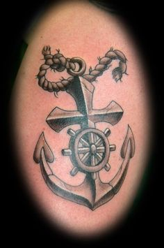 Cross Anchor Tattoo With Wheel & Rope | Tattoobite.com