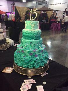 Under The sea quinceañera cake. Facebook.com/marissa'scake or www.marissa'scake.com Sweet 16 Cakes, Cute Cakes, Pretty Cakes, Beautiful Cakes, Amazing Cakes, Unique Cakes, Creative Cakes, Sweet 16 Themes, Quince Cakes